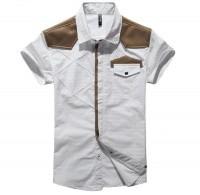 经典修身插皮小点印短袖衬衫[2色]