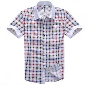 百搭修身格子短袖衬衫[2色]