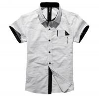 时尚修身马蹄印短袖衬衫[2色]