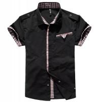 气质修身立领短袖衬衫[2色] CC1205