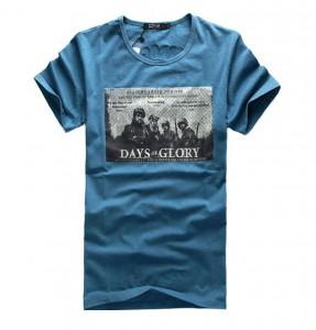 英伦风复古图案印花短袖T恤