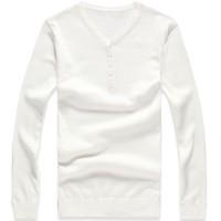 纯棉v领单排扣长袖毛衣[3色] 30001